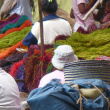 Stall of tinted raffia fibres  - At Coum market