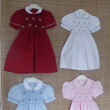Smocked dresses with puff sleeves and claudine collar
