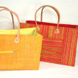 Raffia matting beach bag - Leather handles