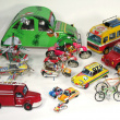 Vehicles made from recovered materials - Tin can, various sizes.