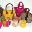 Various bags and purses for children - Various sizes, colours, and materials. Purse : height: 8 cm