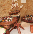 Various games, musical instruments, and accessories - Marquetry, leather, stones