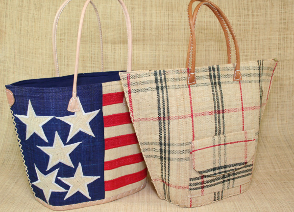 Malagasy beach bag, leather handles -  voir en grand cette image